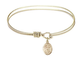 Saint Anthony of Padua 7 1/4 Oval Eyehook 14kt Gold Filled Bangle Bracelet - $79.99