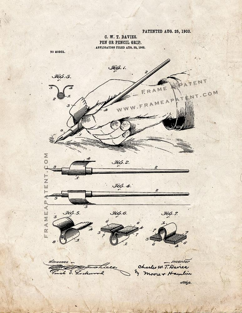 Primary image for Pen or Pencil Grip Patent Print - Old Look