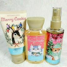 Bath & Body Works MERRY COOKIE Travel Set Body Spray Mist Shower Gel Cre... - $21.28
