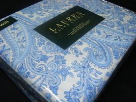 New Ralph Lauren Sheet Set twin 3 P BLUE PAISLEY NAVY WHITE 100% COTTON NIP - $77.99