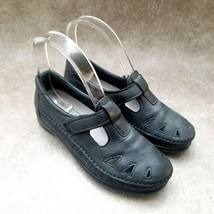 SAS Womens   Sz 4.5 M Black  Leather Slip On Mary Jane Comfort Flats - $29.99