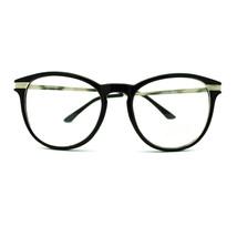 Metal Temple Nerdy Oval Round Plastic Frame Eye Glasses - Black - $7.95