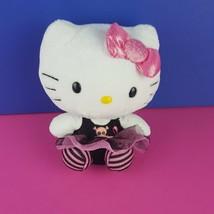 "Ty Plush Hello Kitty Black Pink Skull 6"" Goth Stuffed Animal Halloween Sanrio - $12.87"