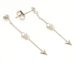18K WHITE GOLD ARROW PENDANT EARRINGS 38 MM, 1.5 INCHES, BRIGHT, MADE IN ITALY image 1