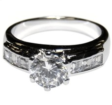 THE LOOK OF REAL ROUND & ACCENT CUT BRIDAL CLEAR CUBIC ZIRCONIA BAND RING - $19.99