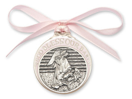 Crib Medal - Gold Oxide Finish Baby in Manger with Pink Ribbon