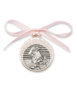 Crib Medal - Gold Oxide Finish Baby in Manger with Pink Ribbon - $39.99