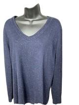 Talbots Sweater Womens Large Long Navy Blue with Flecks Lightweight Cott... - $23.77