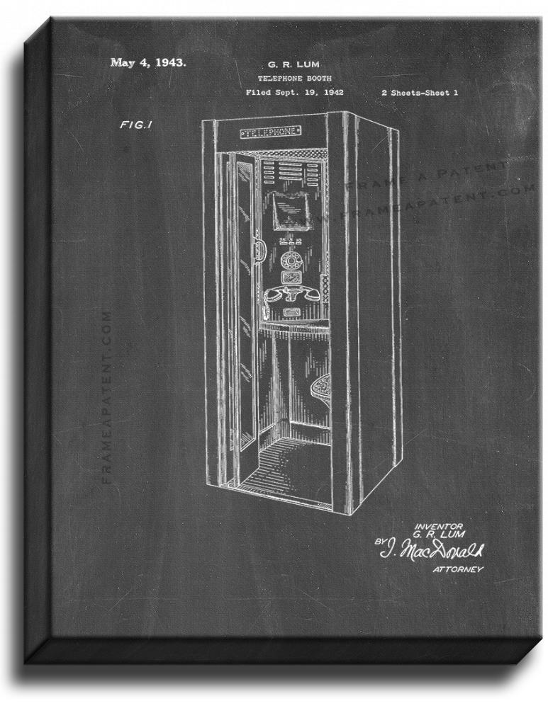Primary image for Telephone Booth Patent Print Chalkboard on Canvas