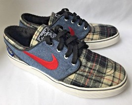 RARE NIKE SB Janoski PENDLETON Shoe Athletic Skate Blue Red Plaid Sneake... - $123.74