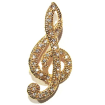 Treble Clef Pin Brooch Clear Crystal Music Musical Note Gold Tone Metal - $19.99