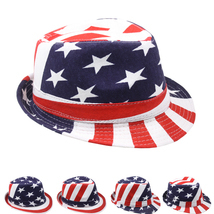 USA American Flag FEDORA HAT Trilby Jazz Stylish Patriotic 4th of July A... - $12.99