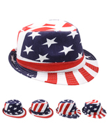 USA American Flag FEDORA HAT Trilby Jazz Stylish Patriotic 4th of July A... - £9.96 GBP