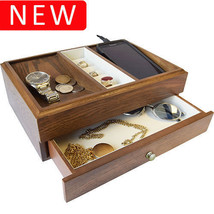 New Executive SAWYER Mens Oak Wood Valet Storage Organizer Men's Jewelry... - €71,19 EUR