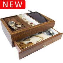 New Executive SAWYER Mens Oak Wood Valet Storage Organizer Men's Jewelry... - €71,55 EUR
