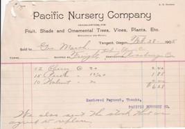 U.S. Pacific Nursery Company Oregon 1905 Cherry Peach Walnut Tree Invoic... - $7.55