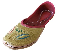Women Shoes Indian Handmade Traditional Gold Leather Flip-Flops Mojari U... - £23.13 GBP