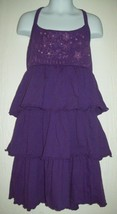 Children's Place Girls Dress Sz M 7-8 Purple Floral Butterfly Ruffle Sun... - $16.82