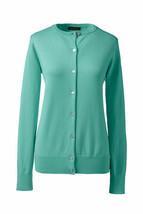 Lands End  Women's LS Supima Crew Cardigan Sweater Jade New - $24.99