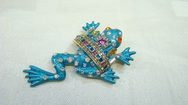 Signed Heidii Daus Multi Colored Crystal Frog Pin - $74.99