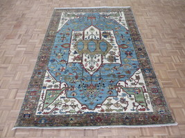 6 X 8'10 Hand Knotted Sky Blue Fine Persian Serapi Heriz Oriental Rug G5873 - $936.52
