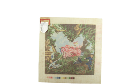 1970's Hand Painted Needlepoint Antique Romance Fashion Lady In Trees - $44.15