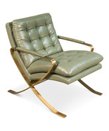 Awesome Celadon Green Top Grain Leather Brushed Stainless Steel Gold Fra... - $1,955.25