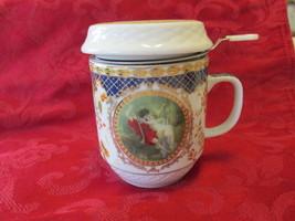 Edimbourg Tasse A Tisane Fine Porcelain Mug and Strainer Boxed - $9.99