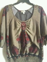 One World Plus Size Top 1X  Embellished Tunic Brown Multi-color - $24.99