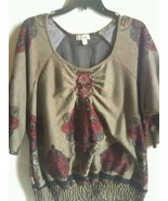 One World Plus Size Top 1X  Embellished Tunic Brown Multi-color - $18.99