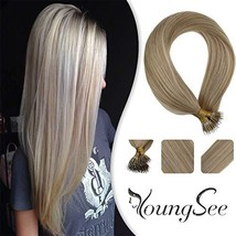 Youngsee 18inch Nano Loop Hair Extensions Real Hair Dark Ash Brown Highlight wit image 1