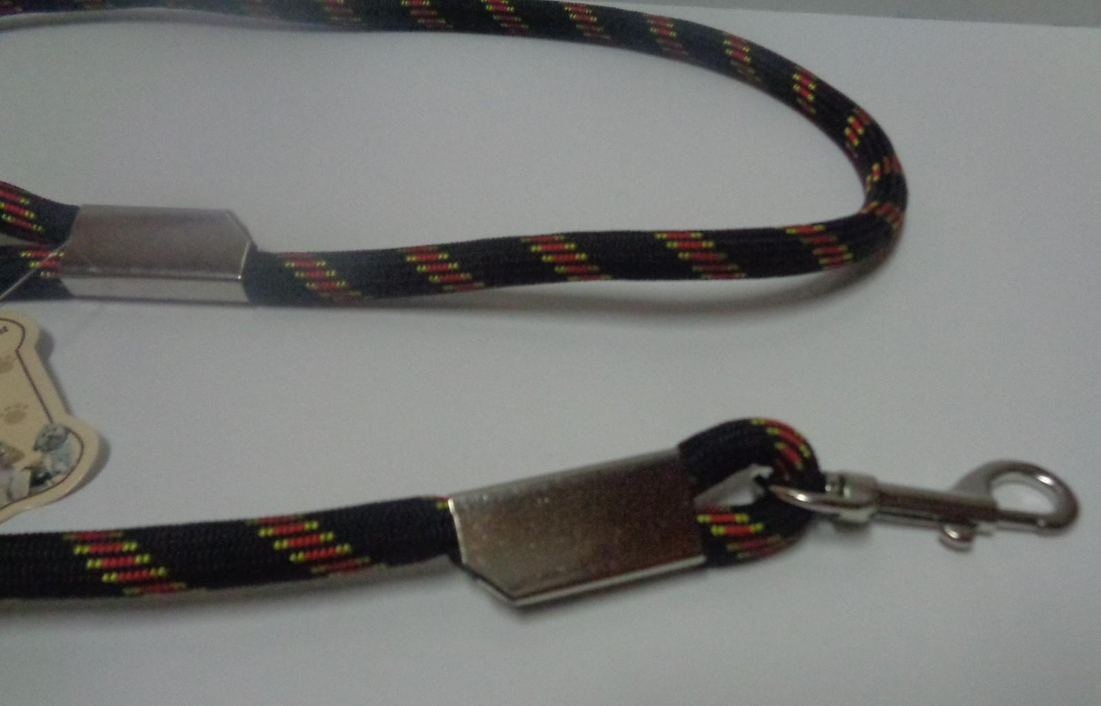 "Extra Long Dog Leash 60"" Nylon Black & Red MY PET"