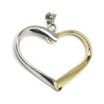 18K YELLOW WHITE GOLD PENDANT ROUNDED HEART, DIAMETER 28mm, 1.1 inches, HUG image 1