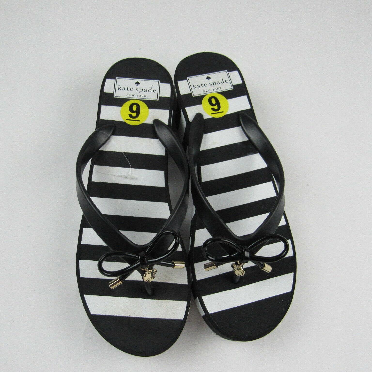 4b45bf6b5 Kate Spade Womens Flip Flops Sandals Black White Striped Platform Thong Bow