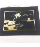 Chinese Wheat Stalk Cutting Art AC020 Palm Tree Island Scene  - $25.19