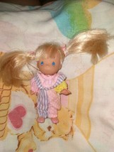 Vintage Precious Moments Doll Little  Girl Pigtails Jumper Small Figure  - $19.79