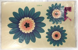 1960s Home Decor Decals Blue Pink Flower Hippie Mod Vintage Meyercord NI... - $5.59