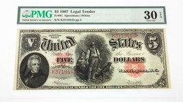 1907 $5 United States Note Fr #91 Graded by PMG as Very Fine 30 EPQ - $386.10