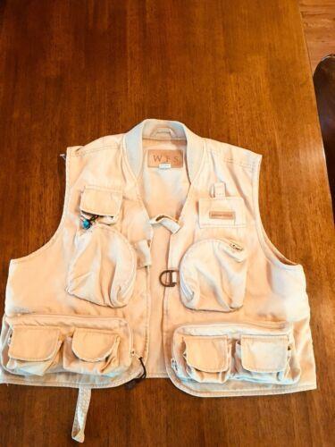 WFS KHAKI Beige fishing vest Size L 60% Cotton 40% Poly #186 image 10