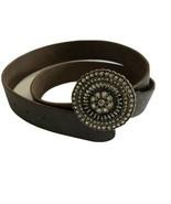Fossil Women's Tooled Brown Leather Belt Rhinestone Medallion Buckle Siz... - $31.68