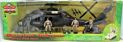 Black Hawk Helicopter 1:18 Scale Action Figure & Motorcycle Elite Operations
