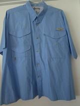 Columbia PFG 2XL Angler Short Sleeve Shirt Velcro Pockets Blue Cotton Poly - $24.95