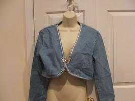 new in pkg frederick's of hollywood DENIM BOLERO jacket jr. small - $21.77