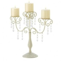10 Glittering Crystals 14.5 in Tall IVORY Elegance Candelabra Candle holder  - $296.01