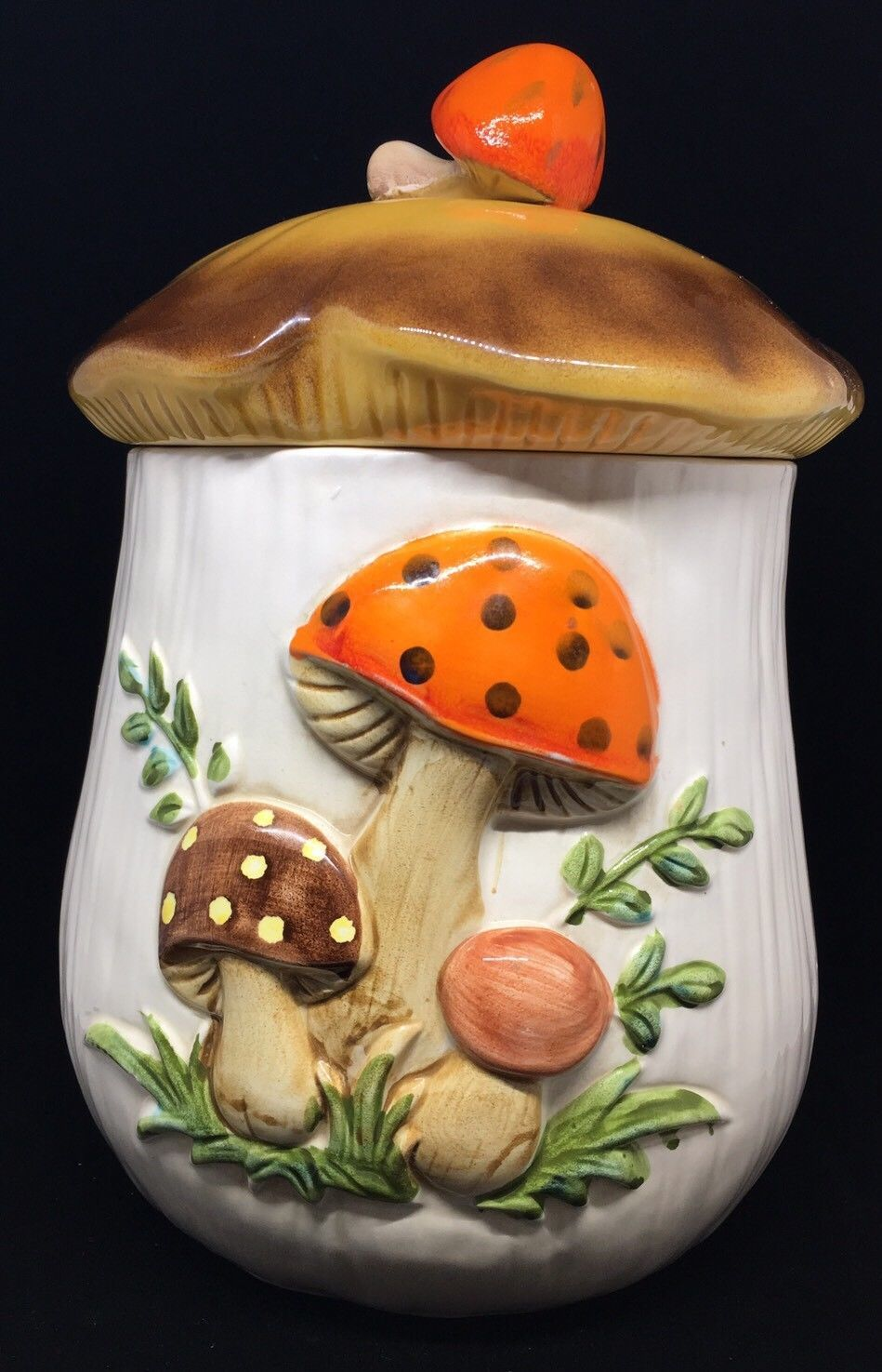 Primary image for Retro 1970s Sears Merry Mushroom Cookie Jar or Large Ceramic Canister with Lid