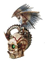 PTC 10 Inch Steampunk Skull with Mechanical Dragon Statue Figurine - $54.99