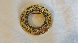 "Vintage 7/8"" Signed Leiba Usa Round Brass Engraved Scarf Clip, Metal, Symbols, - $4.94"