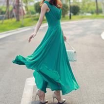 PF253 sexy deep v sleeveless chiffon swing dress  size s-xl, deep green - $18.80