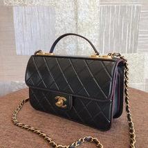 AUTHENTIC CHANEL BLACK QUILTED LEATHER 2 WAY TOP HANDLE FLAP BAG GHW image 3