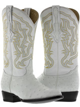 mens real white ostrich skin leather cowboy boots genuine exotic rodeo c... - £197.85 GBP